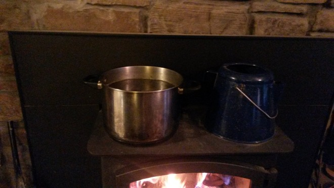 Cooking bone broth on my wood stove